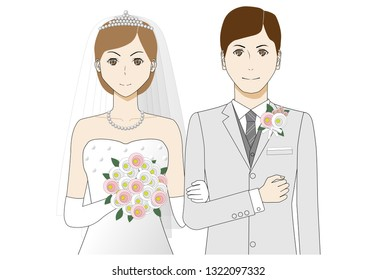 Illustration of bride and groom.