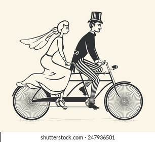 Illustration of bride and groom riding a vintage tandem bicycle over white background