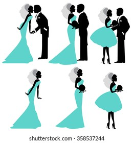Illustration of bride and groom in silhouette vector format