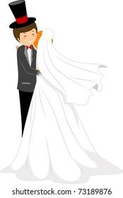 Illustration of a Bride Hugging Her Groom