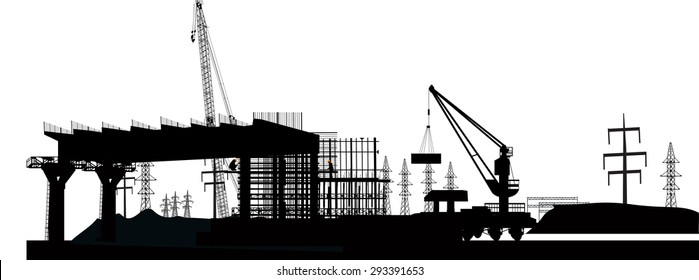 illustration with bridge building and crane