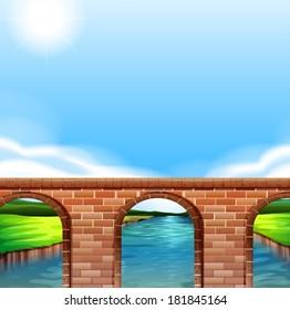 Illustration of a bridge under the bright sun