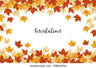 an illustration with bright autumn leaves and a sample text; generic fall background, perfect for sale banners, discount flyers, also wedding invitation or save the date template, season greeting card