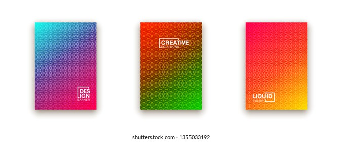 illustration of bright color abstract pattern background with line gradient texture for minimal dynamic cover design. Blue, pink, yellow, green placard poster template
