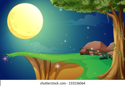 Illustration of a bright fullmoon and the cliff