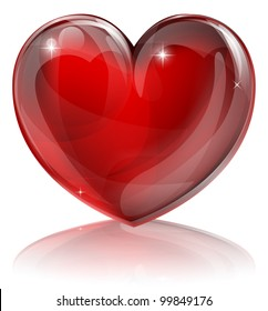 An illustration of a bright shiny red heart shaped symbol