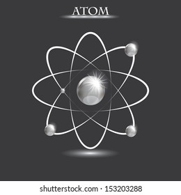 Illustration of bright silver atoms