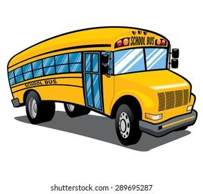 illustration of a bright yellow children's school bus