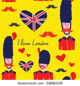 Illustration of a British Royal Guard saying I love London. Seamless vector patter on a yellow background for language english school, packaging, decorative paper, school notebook, website, textile.