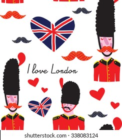 Illustration of a British Royal Guard saying I love London. Seamless vector patter on a white backgroun for language english school, packaging, decorative paper, school notebook, website, textile.