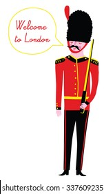 Illustration of a British Royal Guard with a text bubble saying Welcome to London