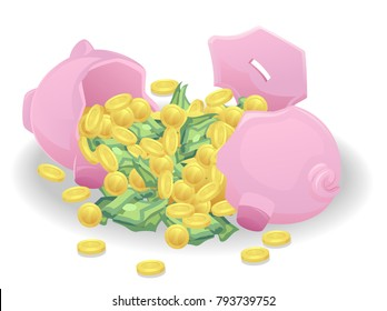 Illustration of a Broken Piggy Bank Full of Coins and Money