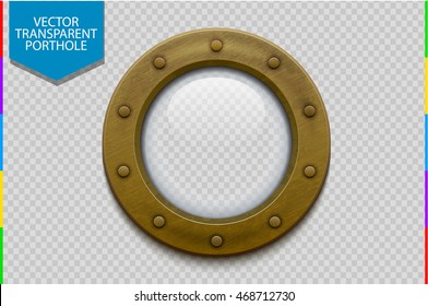 Illustration of a bronze or brass ship porthole with glass isolated on transparent background. Rivets mount