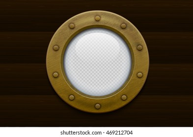 Illustration of a bronze or brass ship porthole with transparent glass on wooden background. Rivets mount