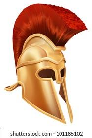 Illustration of a bronze Trojan Helmet, Spartan helmet, Roman helmet or Greek helmet. Corinthian style.