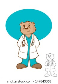 Illustration of a brown bear wearing a lab coat and scrubs/Doctor Bear Cartoon