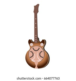 Illustration of a brown Dobro Guitar resonator in a vector