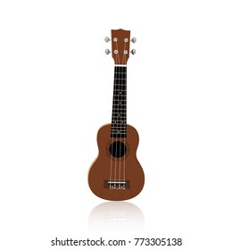 Illustration brown ukulele on the white background. Isolated vector object.