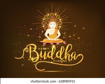 Illustration Of Buddha Purnima  Background.