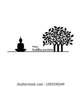 "illustration of Buddha Purnima Background ""abstract of Lord Buddha in meditation under peepal tree"" Happy Buddha Purnima Vesak,Buddhist festival- Vector"