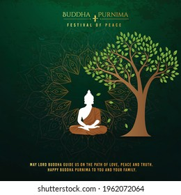 illustration for Buddha Purnima or Vesak Day with nice and creative design, banner, poster, flyer