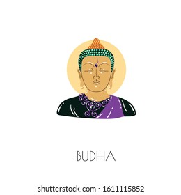 Illustration of a Budha on white color