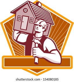 Illustration of a builder construction worker with hammer carrying house on shoulder set inside shield done in retro style.