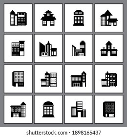 Illustration of Building one set Icon Design vector black and white simple
