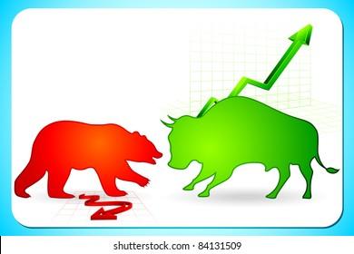 illustration of bull and bear on graph showing bullish and bearish market