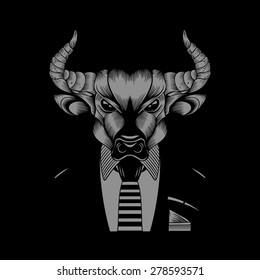 Illustration of bull hipster in a business suit with a tie. Black background.