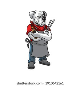 Illustration of bulldog bbq mascot logo vector The Concept of Isolated Technology. Flat Cartoon Style Suitable for Landing Web Pages, Banners, Flyers, Stickers, Cards