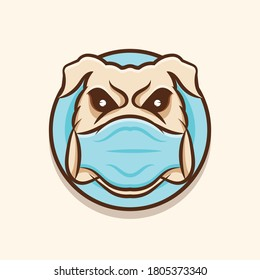 illustration of a bulldog dog wearing a mask
