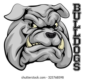 An illustration of a bulldog sports mascot head with the word bulldogs