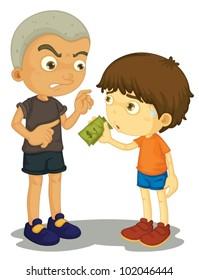 Illustration of a bully taking money