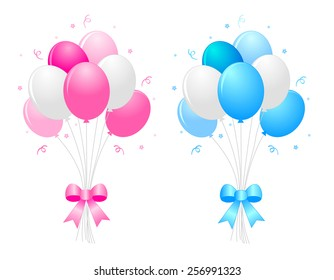 Illustration of a bunch of multicolored pink blue and white) balloons with curly ribbons clipart isolated on white background