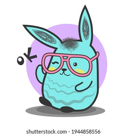 Illustration of a bunny that says