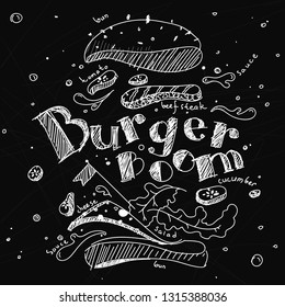 Illustration of a Burger drawn in chalk on a black Board, spread out into components.