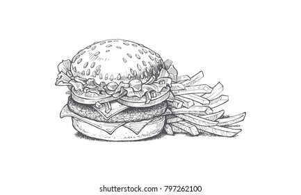 illustration burger and french fries, tasty popular food, fast food complex, retro style vector image