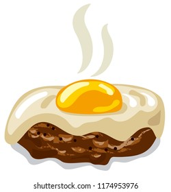 illustration of burger with fried egg on white background