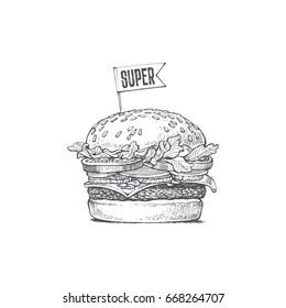 illustration of a burger, Super fast food, vector drawing
