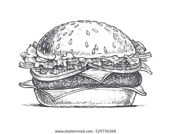 Illustration D Un Hamburger Dessin Vectoriel Image Vectorielle De Stock Libre De Droits 529736368