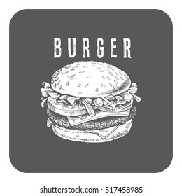 """illustration of a burger, vector drawing on a dark background with the word -""""burger"""""""
