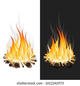 Illustration of Burning Bonfire with Wood on White and Black Background.