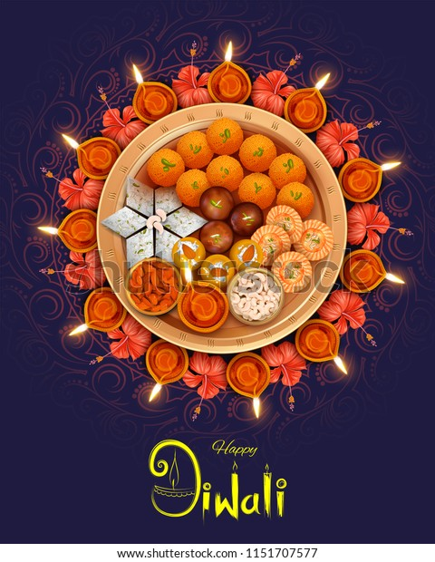 illustration of burning diya with assorted sweet and snack on Happy Diwali Holiday background for light festival of India