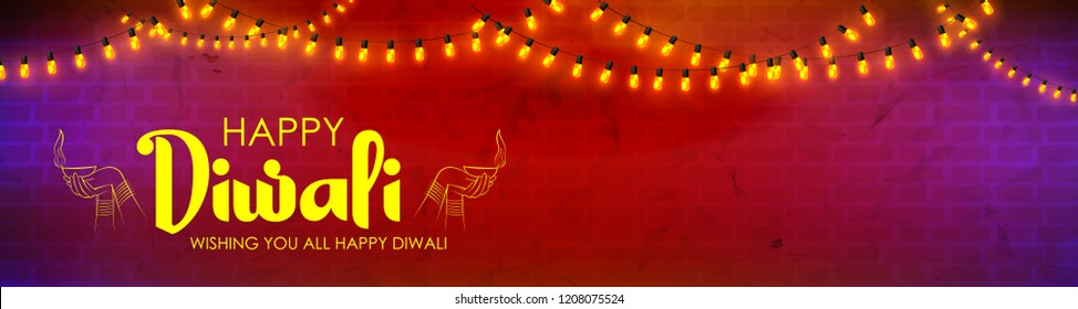 illustration of burning diya on happy Diwali Holiday background for light festival of India