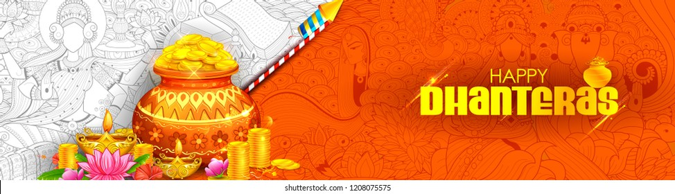 illustration of burning diya on Happy Diwali Dhanteras Holiday background for light festival of India