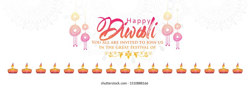 illustration of burning diya on Happy Diwali white background for light festival of India