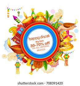 illustration of burning diya on Happy Diwali Holiday Sale promotion advertisement background for light festival of India