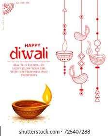 Illustration von Brennen auf glücklichem Diwali Feiertagshintergrund für das Lichfestival von Indien
