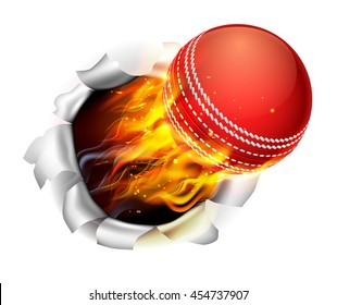 An illustration of a burning flaming cricket ball on fire tearing a hole in the background